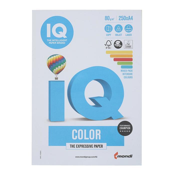 Бумага цветная IQ COLOR (А4,80г,5цв. 39,40,44,42,48 по 50л.) пачка 250л.