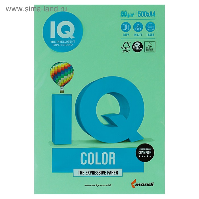 Бумага цветная IQ COLOR (А4,80г,MG28-зеленый) пачка 500л.
