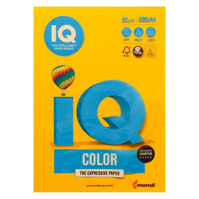 Бумага цветная IQ COLOR (А4,80г,SY40-солнечно-желтый) пачка 500л.