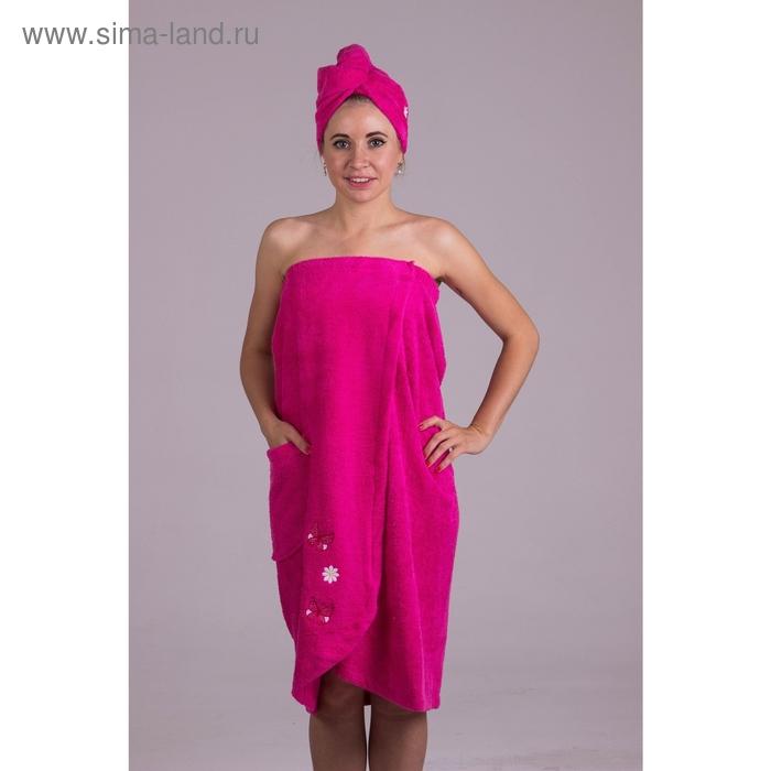 Набор для сауны женский, цвет малиновый 5003