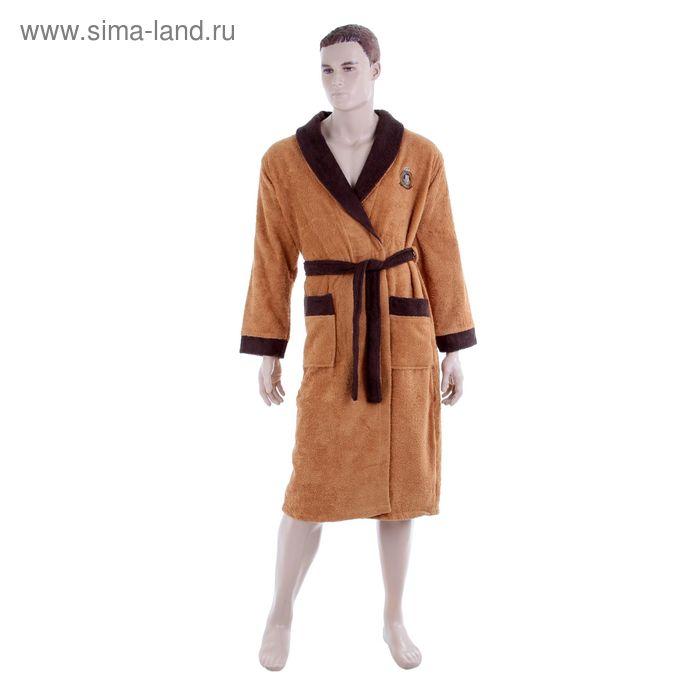 Халат мужской, размер 52, цвет бежевый/коричневый 3001