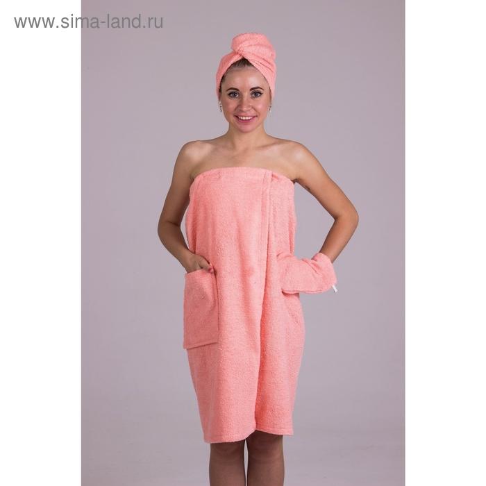 Банный комплект женский, цвет персиковый