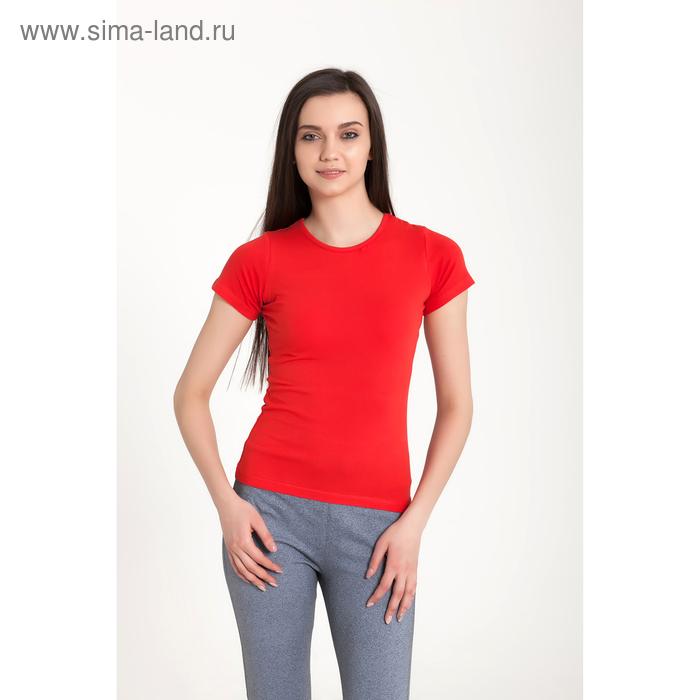 Футболка женская, размер 42-44 (XS), цвет красный (арт.VSE25prn)
