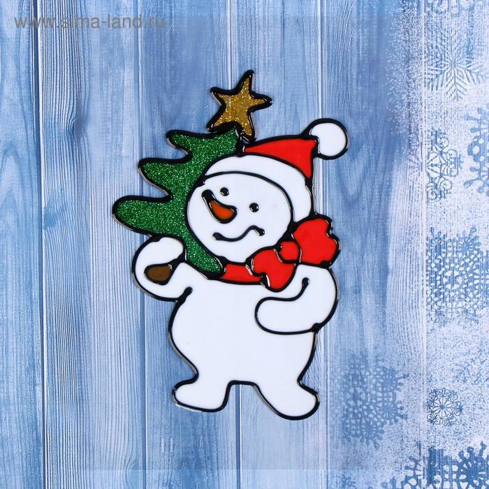 """Наклейка на стекло """"Снеговик с ёлкой"""""""