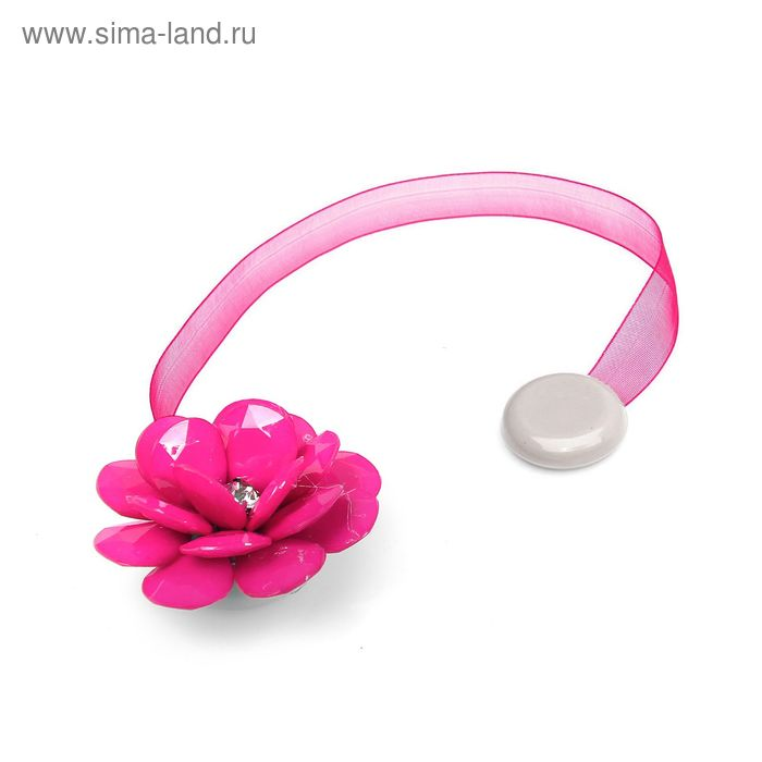 "Подхват для штор на ленте ""Пион"", цвет розовый"