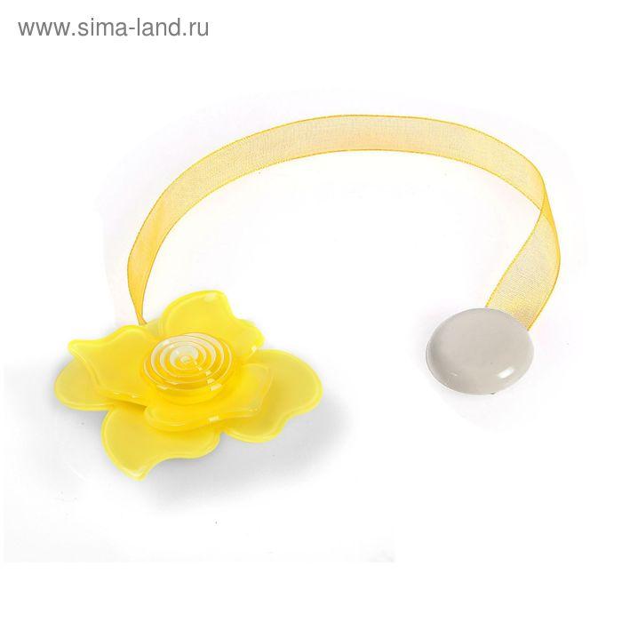 """Подхват для штор на ленте """"Нежная роза"""", цвет жёлтый"""