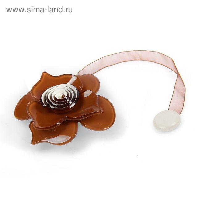 """Подхват для штор на ленте """"Нежная роза"""", цвет коричневый"""
