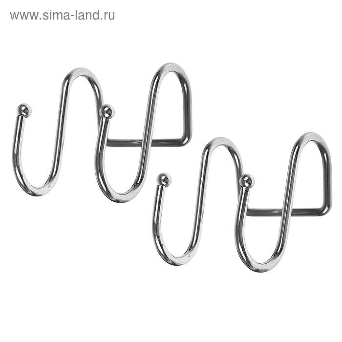 Набор крючков для рейлинга двойных, 7х5х4 см, 2 шт