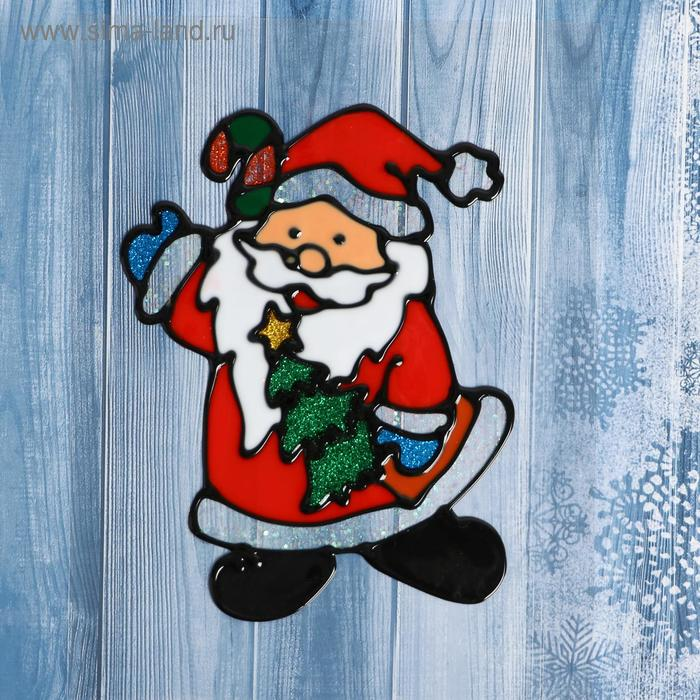 """Наклейка на стекло """"Дед Мороз с ёлкой"""""""