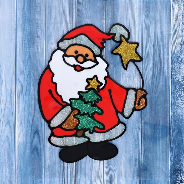"""Наклейка на стекло """"Дед Мороз с ёлкой и звёздочкой"""""""