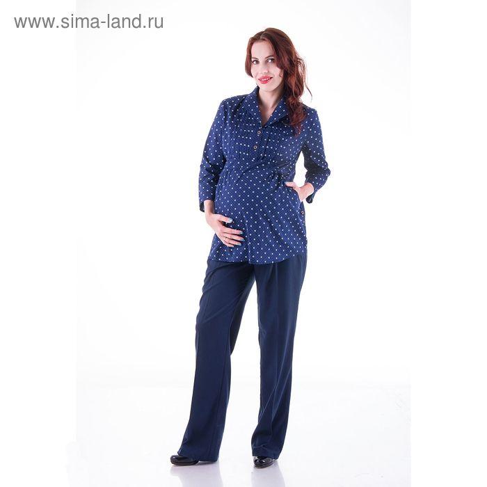 Блузка женская для беременных, размер 46, рост 168, цвет синий (арт. 0347)