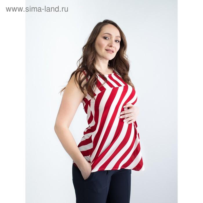 Туника женская для беременных, размер 46, рост 168, цвет красная полоска (арт. 0362)