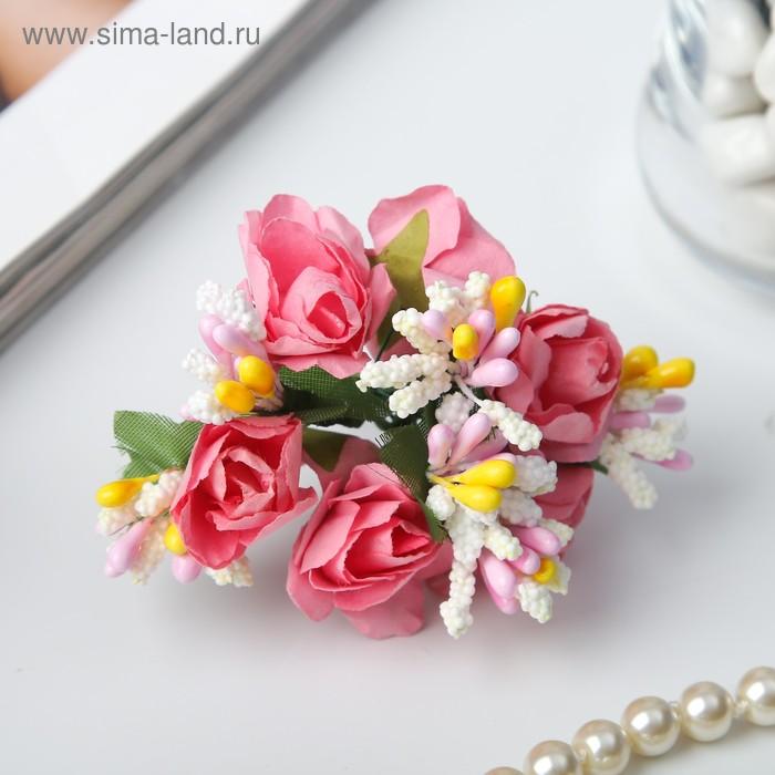 """Декор для творчества """"Розовые розы"""" (1 набор=1 букету), 6 цветков"""