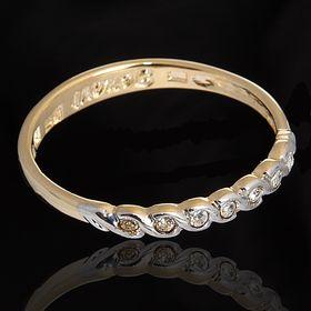 """Кольцо """"Веревочка"""" размер 22, цвет белый в золоте"""