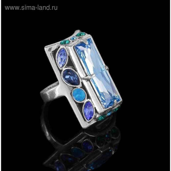 """Кольцо """"Донизети"""", размер 17, цвет голубой в чернёном серебре"""
