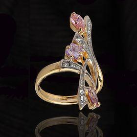 """Кольцо """"Комильфо"""", размер 18, цветное в золоте"""