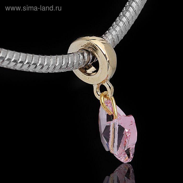 """Бусина """"Кольцо с подвеской"""", цвет розовый в золоте"""