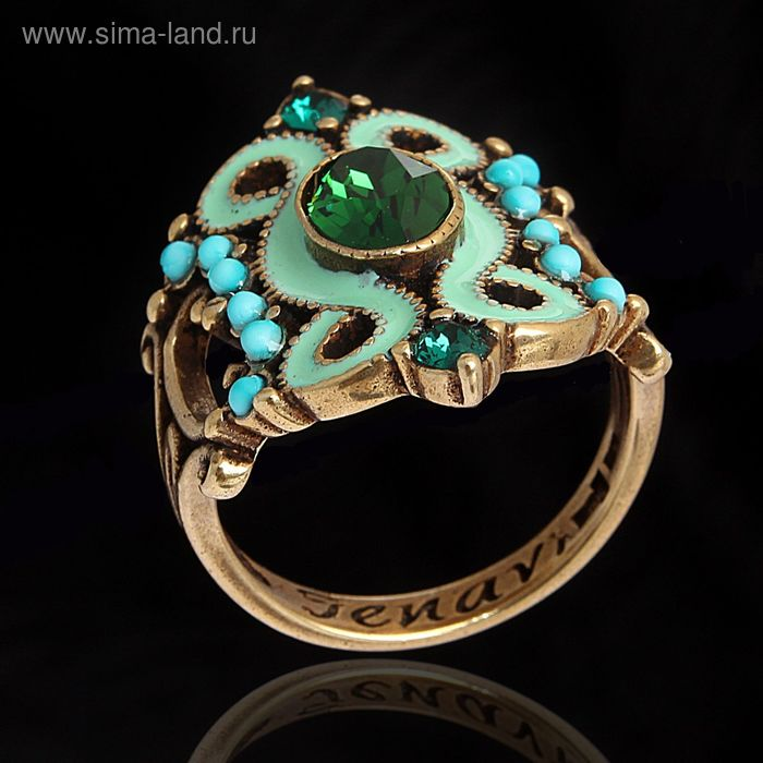 """Кольцо """"Шер"""", размер 19, цвет тёмно-зелёный в бронзе"""
