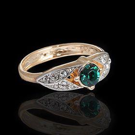 """Кольцо """"Юнис"""", размер 18, цвет зелёный в золоте"""