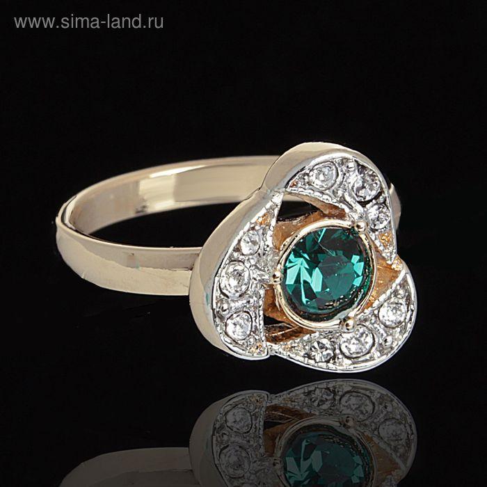 """Кольцо """"Стинокс"""", размер 17, цвет зелёный в золоте"""