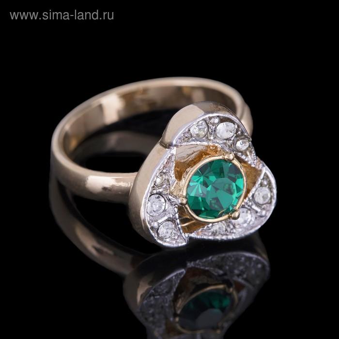 """Кольцо """"Стинокс"""", размер 19, цвет зелёный в золоте"""