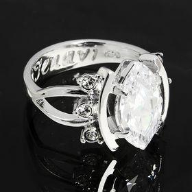 """Кольцо """"Тэма"""", размер 17, цвет белый в серебре"""