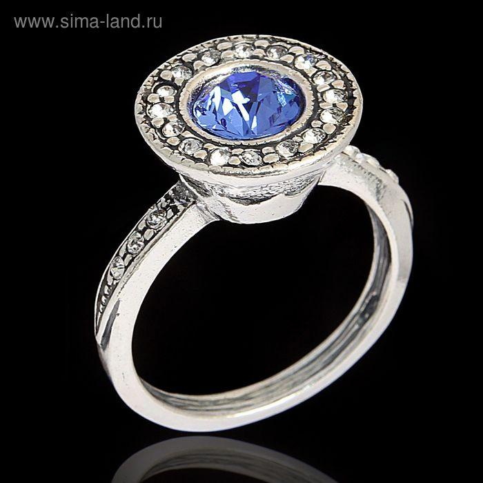 """Кольцо """"Лоо"""", размер 16, цвет голубой в чернёном серебре"""