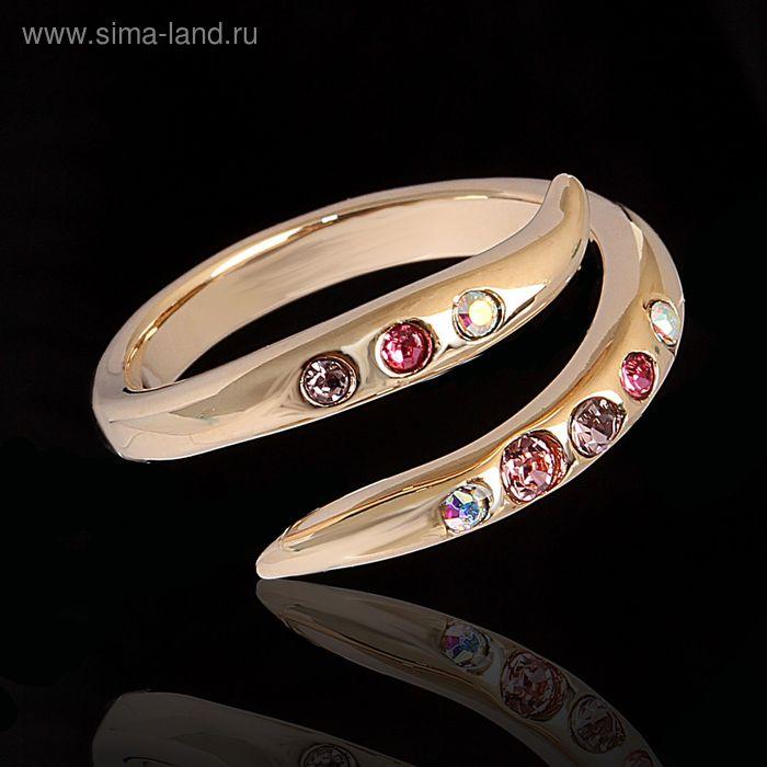 """Кольцо """"Марципан"""", безразмерное, цвет розовый в золоте"""
