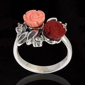 """Кольцо """"Маники"""", размер 17, цвет бело-красный в чернёном серебре"""
