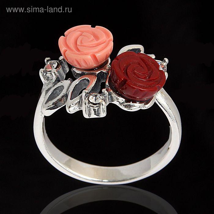 """Кольцо """"Маники"""", размер 19, цвет бело-красный в чернёном серебре"""