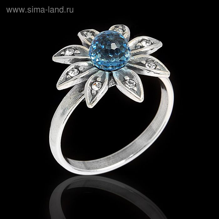 """Кольцо """"Сель"""", размер 19, цвет голубой в чернёном серебре"""