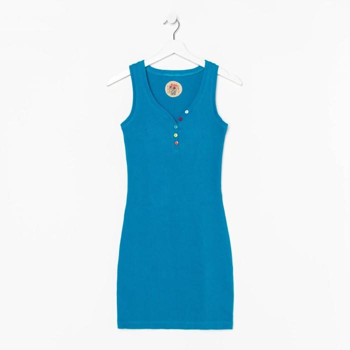 Платье женское, размер 48, цвет бирюзовый (М-256-15)