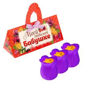 Набор мыльных лепестков 3 шт. в коробке сумочка'Любимой бабушке' Ош