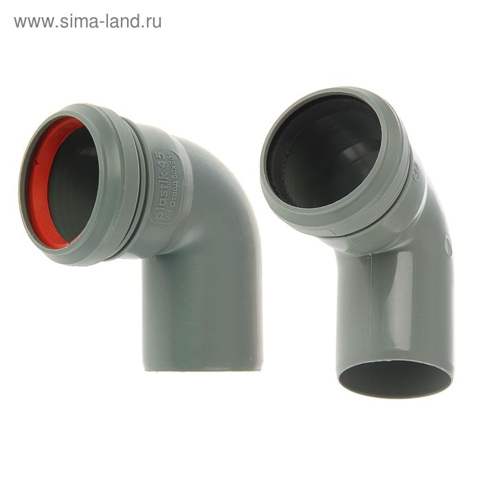 Отвод канализационный, 50 мм, 90°