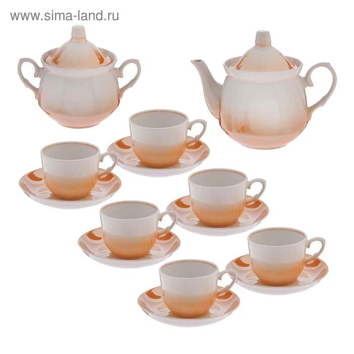 """Сервиз чайный """"Кирмаш"""", 14 предметов: чайник 550 мл, 6 чашек 250 мл, 6 блюдец d=15 cм, сахарница 450 мл, без деколи"""