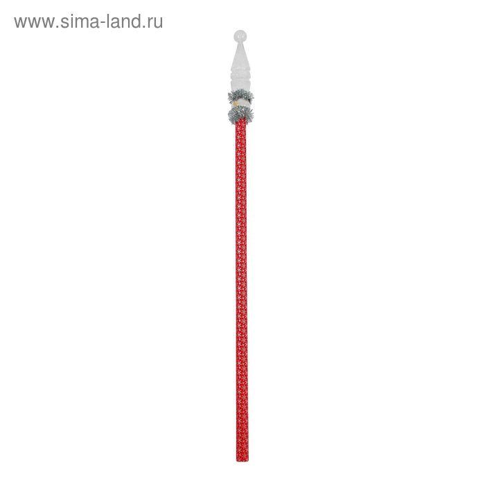 Посох Деда Мороза красный с белой кеглей длина 1,6 м