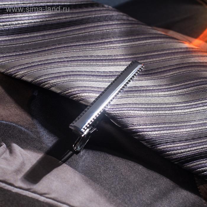 """Зажим для галстука """"Классический"""" с рамкой, цвет серебряный"""
