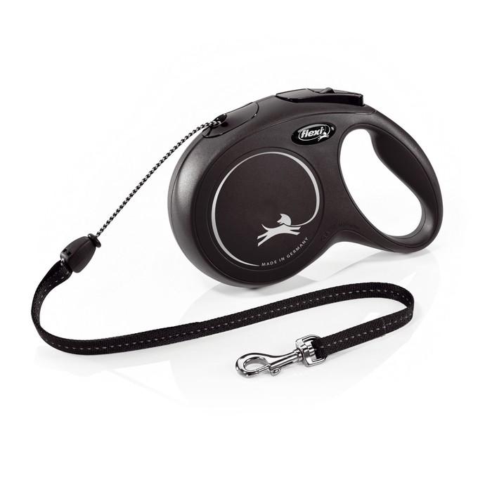 Рулетка Flexi  New Classic М (до 20 кг) 5 м трос, черная