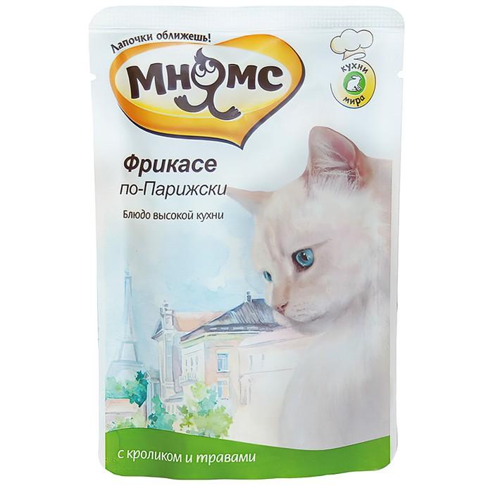 """Влажный корм для кошек Мнямс """"Фрикасе по-Парижски"""" кролик с травами, 85 г"""