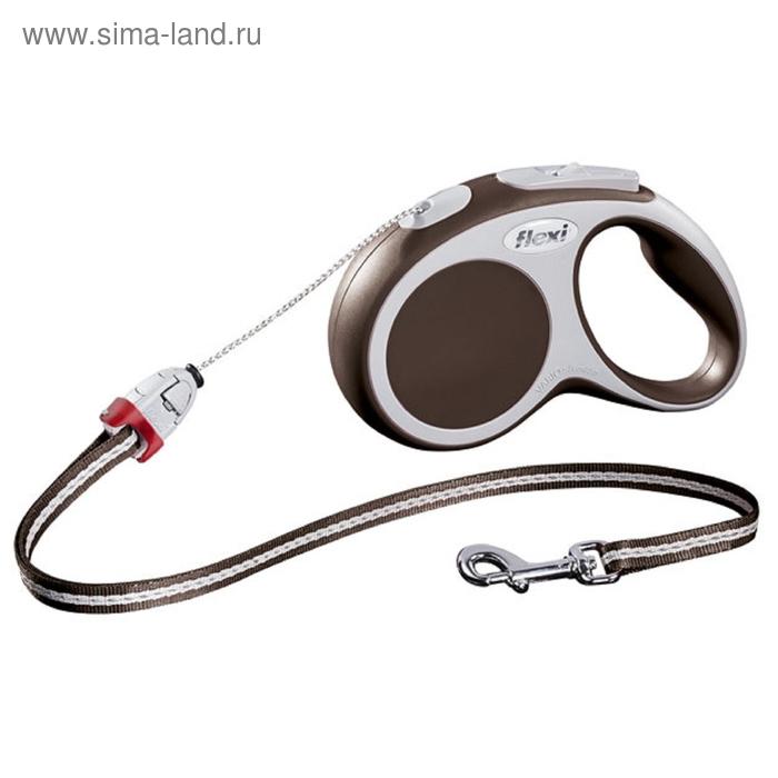 Рулетка Flexi  VARIO S (до 12 кг) 8 м трос, коричневая