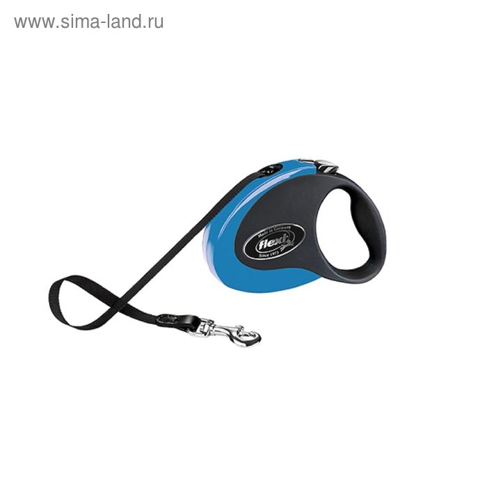 Рулетка Flexi  Collection S (до 12 кг) 3 м лента, черная/голубая