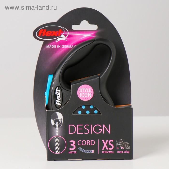 Рулетка Flexi  Design XS (до 8 кг) 3 м трос, черная/голубой горошек
