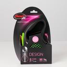 Рулетка Flexi  Design М (до 20 кг) 5 м трос, черный/зеленый горох