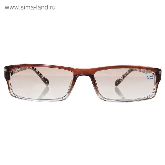 """Очки """"Прямоугольные"""", паутинка, полуободок, тонированная линза, цвет коричнево-белый, -1 дптр"""