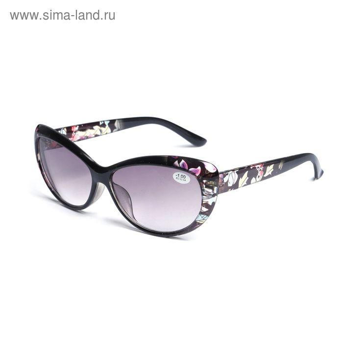 """Очки """"Кошачий глаз"""", цветочный принт, пластик, тонированная линза, цвет чёрно-розовый, -1 дптр"""