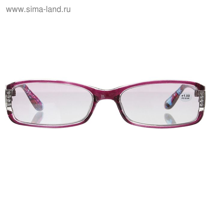 """Очки """"Прямоугольные"""", пластик, цвет розово-голубой, +1 дптр"""