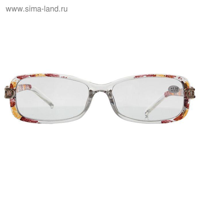 "Очки ""Бабочки"", пластик, узор на дужке, цвет бело-коричневый, +1,5 дптр"