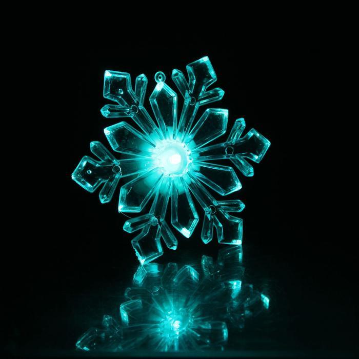 """Игрушка световая """"Снежинка ледяная"""" (батарейки в комплекте) на подставке и присоске 10 см"""