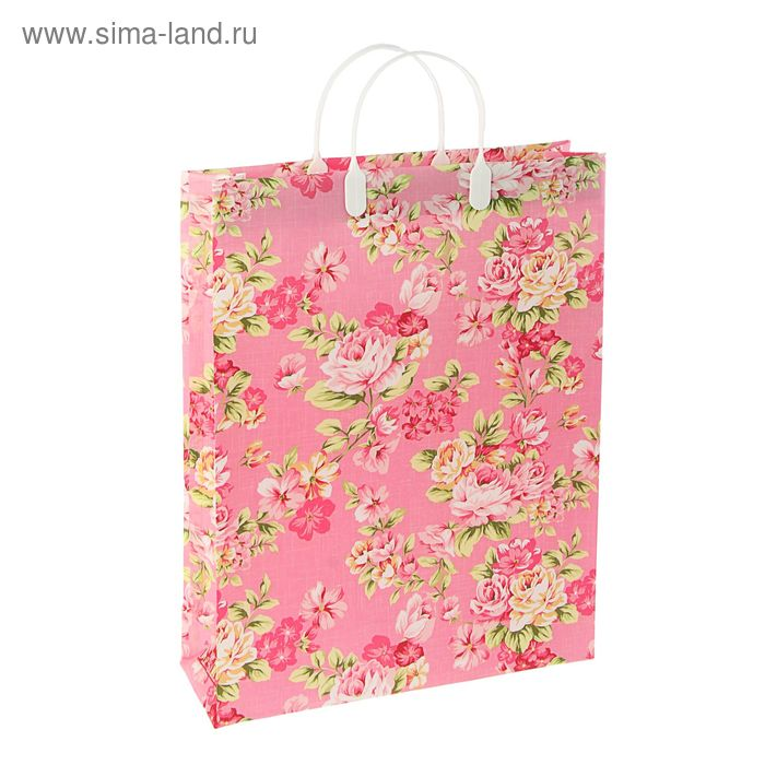 """Пакет """"Цветочный восторг"""", мягкий пластик, объемный 32х42 см"""