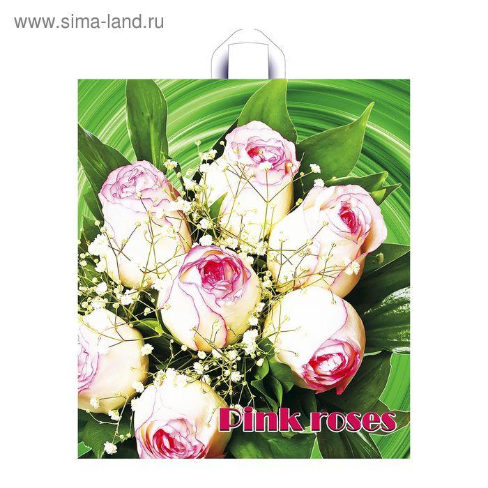 """Пакет """"Розовые цветочки"""", полиэтиленовый с петлевой ручкой, 43,5х40 см, 35 мкм"""